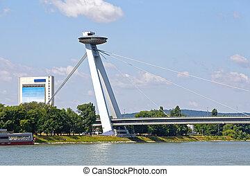 Bratislava Bridge - Famous Bratislava Bridge With UFO...