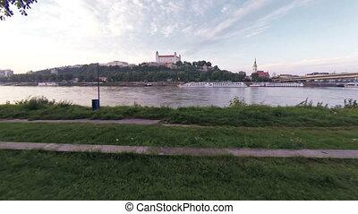 Bratislava castel and donau - Aerial drone footage