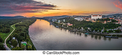 Castle of Bratislava on the Right Bank of Danube River at Sunset