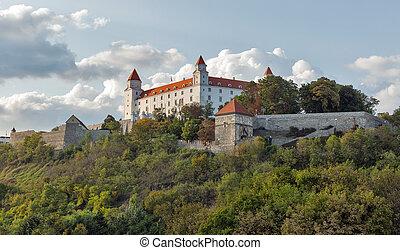 Bratislava Castle at sunset, Slovakia.