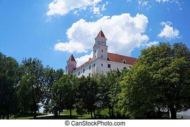 Bratislava castle behind trees