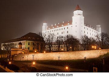 bratislava castle in the fog
