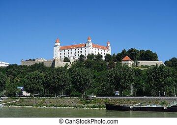 Bratislava Castle over Danube River in Slovakia
