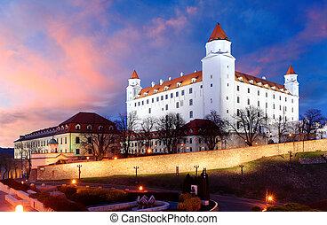 Bratislava castle at a colorful nice sunset