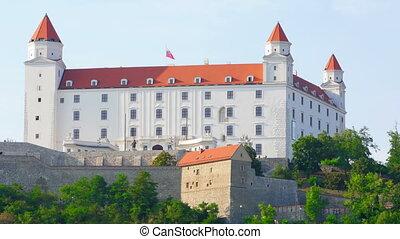"""bratislava castle view, slovakia, timelapse, zoom out, 4k"""
