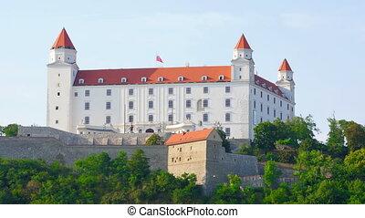 """bratislava castle view, slovakia, timelapse, 4k"""