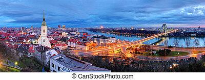 Bratislava cityscape at night, Slovakia