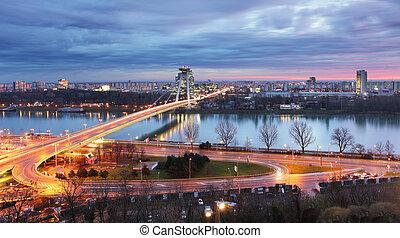 Bratislava cityscape at night