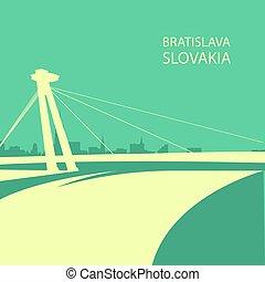 Bratislava cityscape with UFO bridge silhouette, Slovakia