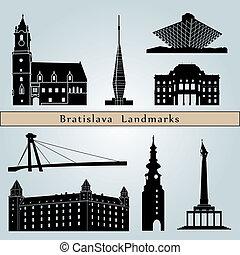 Bratislava landmarks and monuments isolated on blue...