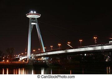 Bratislava New bridge during night.