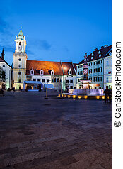 Bratislava Old Town Main Square at Night in Slovakia