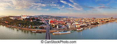 Bratislava panorama at a day in Slovakia