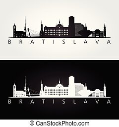 Bratislava skyline and landmarks silhouette, black and white...
