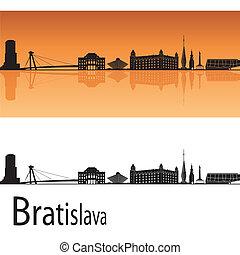 Bratislava skyline in orange background in editable vector...