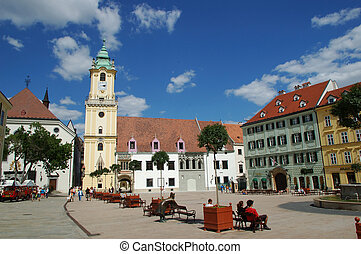 Bratislava capital of Slovakia and its main historic square.