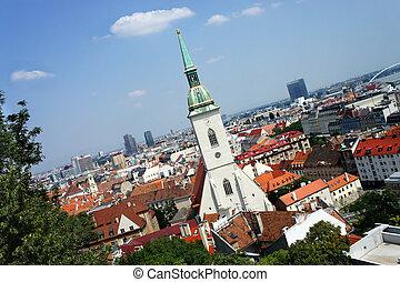 Bratislava, Slovakia - city panorama and St. Martin's...
