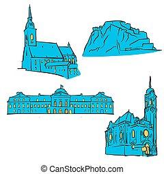Bratislava, Slovakia, Colored Landmarks, Scalable Vector...