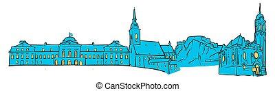 Bratislava, Slovakia, Colored Panorama, Filled with Blue...
