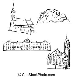 Bratislava, Slovakia, Famous Buildings, Monochrome Outlined...