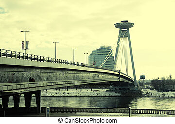 Novy Most Bridge across the Danube River in Bratislava,...