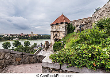 Bratislava, Slovakia - July 10, 2018. Sigismund Gate in Bratislava Castle is popular touristic landmark and viewpoint. View of the most original medieval castle part with overlooks Danube and city.