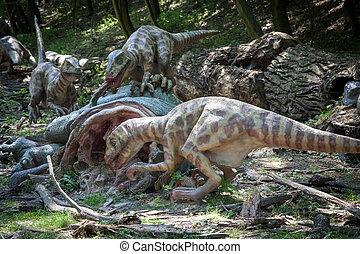 Realistic model of dinosaur - BRATISLAVA, SLOVAKIA - JUN 28:...