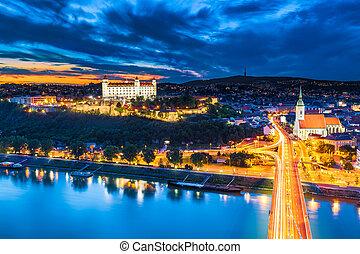 Bratislava, Slovakia - Evening Panorama of Bratislava,...