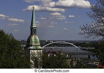 Bratislava - St. Martin's cathedral and bridge over Danube