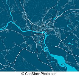 bratislava., strada, illustration., mappa, arte, manifesto, vettore