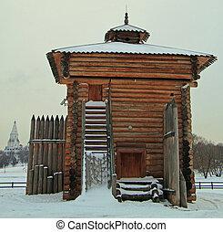 bratsk, stan, królewski, kolomenskoye, palisada, wieża, dawny