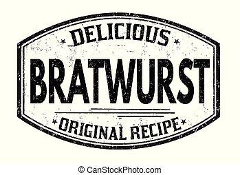 Bratwurst grunge rubber stamp on white background, vector...