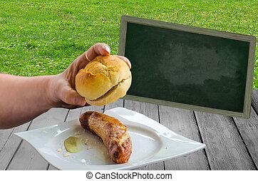 Bratwurst with bun
