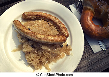 Bratwurst with Kraut, grilled pork sausage with sour ...