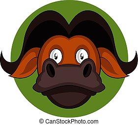 brauner, abbildung, vektor, hintergrund, weißes, büffel, karikatur