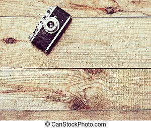 brauner, altes , hölzern, hintergrund., kamera- film
