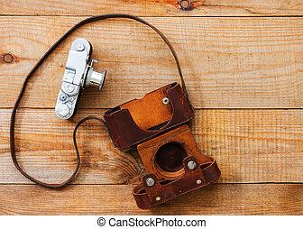 brauner, altes , sehr, hölzern, fotoapperat, hintergrund, film