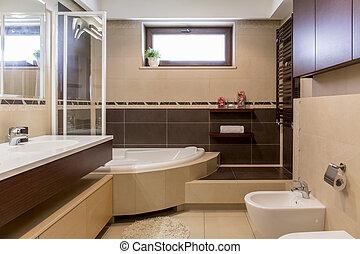 Brauner, Badezimmer, Modern, Beige