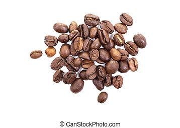 brauner, bohnenkaffee, freigestellt, hintergrund., bohnen, ...