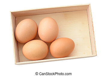 brauner, eier, in, hölzerner kasten, isolieren, (clipping, path)
