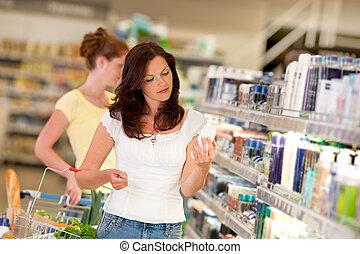 brauner, frau- einkaufen, reihe, -, haar, kosmetik-abteilung