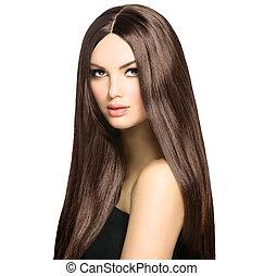 brauner, frau, schoenheit, gesunde, glatt, langes haar,...