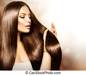 brauner, frau, schoenheit, sie, gesunde, langes haar, ...
