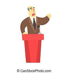 brauner, hinten, tribun, rote klage, öffentlichkeit, spricht...