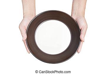 brauner hintergrund, platte, oberseite, hand holding, weißes, küche blick