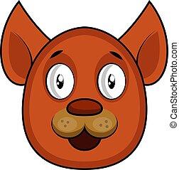 brauner hund, vektor, hintergrund, illustartion, weißes, karikatur