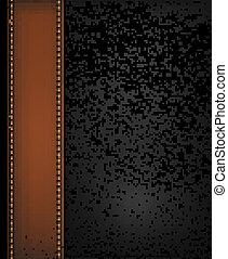 brauner, illustration., leder, vektor, schwarzer hintergrund, strip.