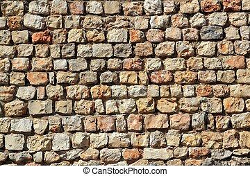 brauner, mauerwerk, steinmauer, spanien, traditiona