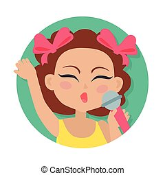 brauner, mikrophon, hand., haar, m�dchen, singende