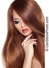 brauner, mode, schoenheit, girl., sehr, glatt, freigestellt, langer, modell, haar, hintergrund., frau, luxus, hair., weißes, glänzend, gesunde, rotes , posing.